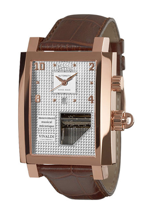 Boegli Men's Grand Festival Automatic Rose Gold Plated Brown Leather Watch M.751