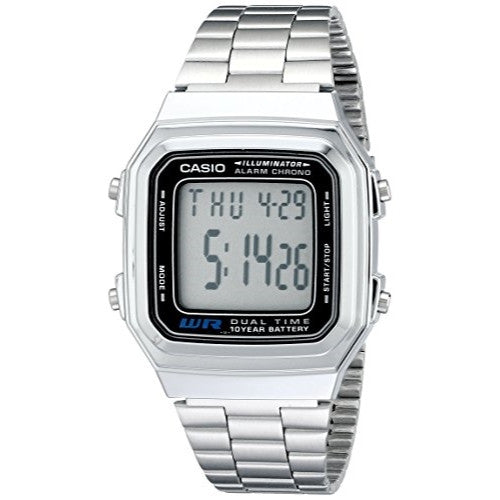 Casio Dual Time Illuminator Silver Watch A178W-1 A178