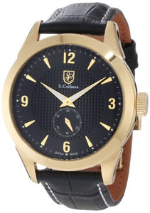 S. Coifman Men's Chronograph Quartz Gold Plated Case Black Leather Watch SC0114