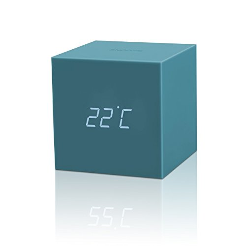 Gingko Gravity Cube Click Clock Teal 18TL