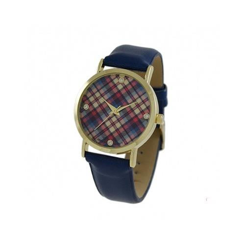 Geneva Platinum Women's Gold Tone Stainless Steel Blue Leather Watch 9884