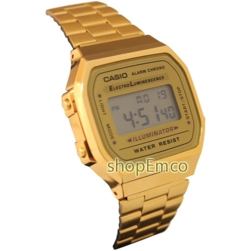 buy online 6b702 9fce4 Casio Men's Digital Illuminator Gold Watch A168WG-9