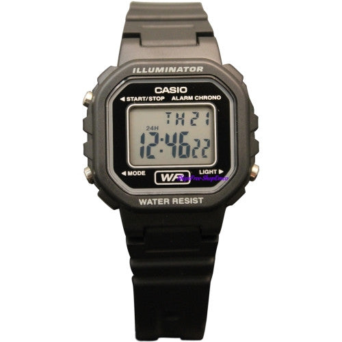 Casio Ladies Black Stopwatch Led Light Watch LA-20WH-1A