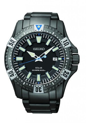 Seiko Men's Solar Divers 200m Black Ion-Plated Stainless Steel Watch SNE281