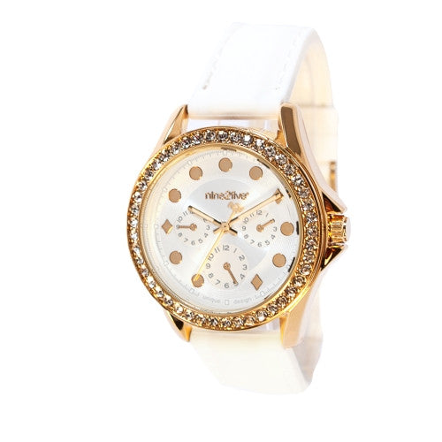 Nine2Five Women's Tress Chronograph Quartz White Silicone Watch ATSS08BLGL