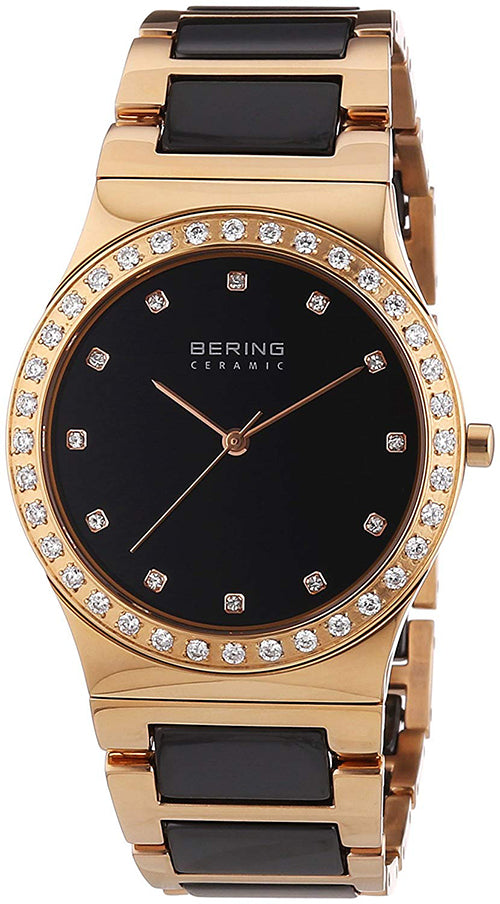 Bering Women's Ceramic Rose Gold Stainless Steel/Black Ceramic Watch 32435-746