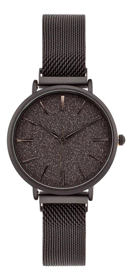 Geneva Women's Analog Quartz Black Stainless Steel Mesh Watch 10182BLK