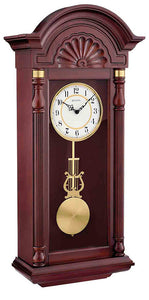 Bulova New Yorker Hardwood Mahogany Finish Chime Pendulum Wall Clock C1516