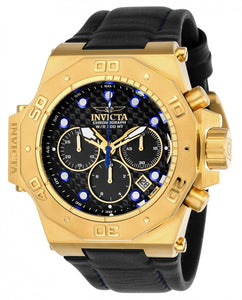 Invicta Men's Akula Chrono 300m Gold Plated S. Steel Black Leather Watch 23103