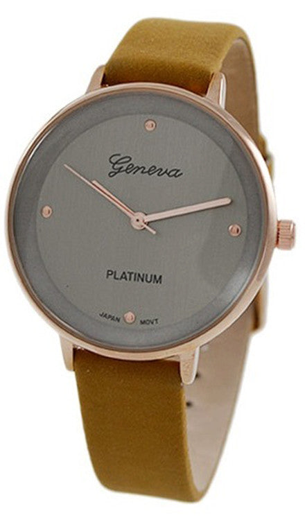 Geneva Platinum Women's Rose Gold Tone Stainless Steel Cognac Leather Watch 9861