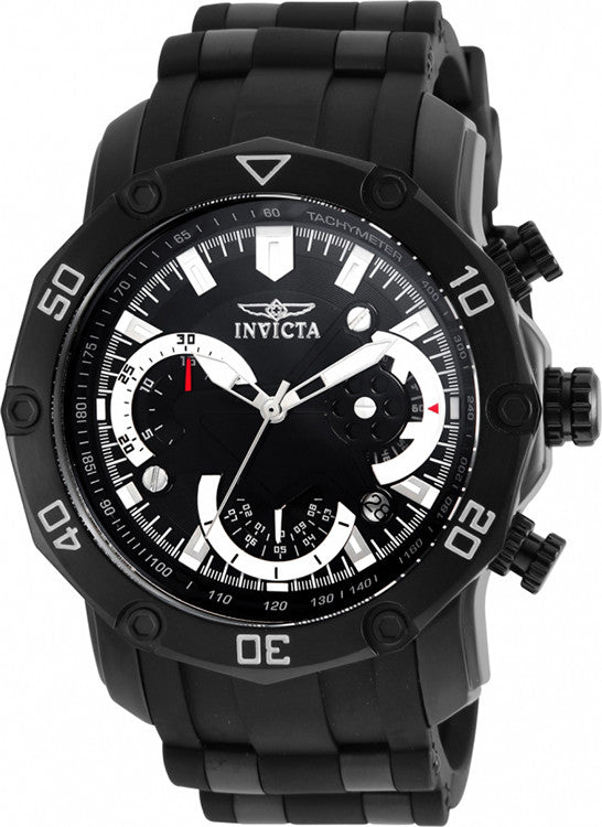 Invicta Men's Pro Diver 100m Stainless Chronograph Black Dial/Bracelet Watch 22799
