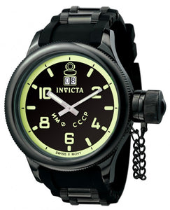 Invicta Men's Russian Diver Quartz Stainless Steel Black Polyurethane Watch 4338