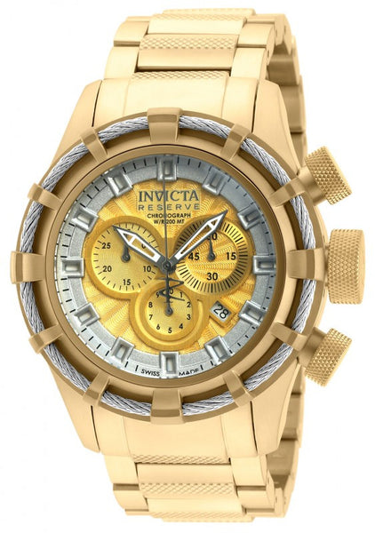 Invicta Men's Bolt Chronograph 200m Gold Plated Stainless Steel Watch 19523