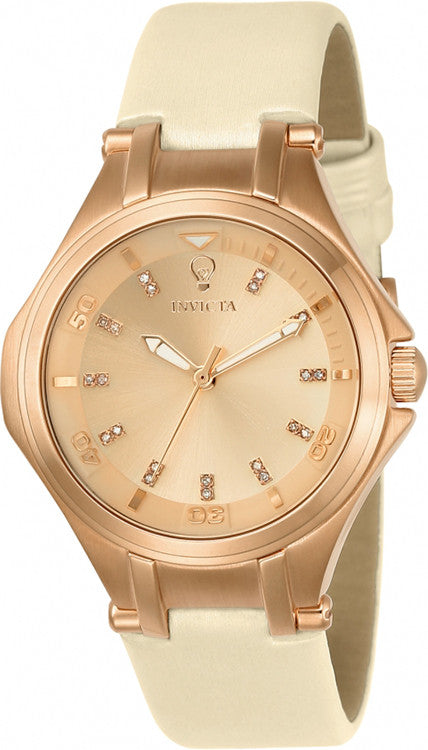 Invicta Women's Gabrielle Union 100m Rose Gold Dial Leather Strap Watch 23254