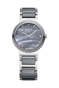 Bering Women's Crystal Accented Grey Ceramic & Stainless Steel Watch 10725-789