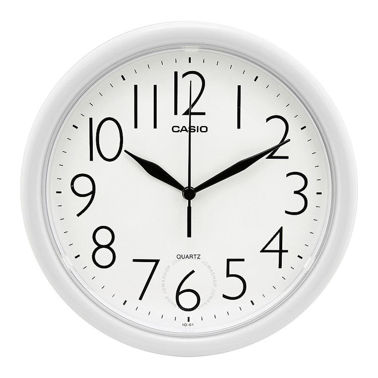 "Casio 10"" Analog Quartz Round White Resin Wall Clock IQ01-7R"