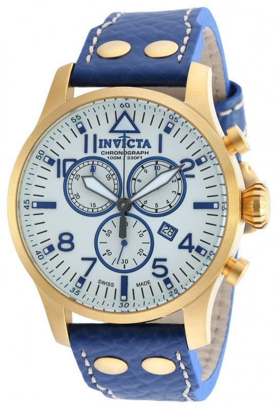 Invicta Men's Reserve Chronograph Gold Plated Case Blue Leather Watch 19751