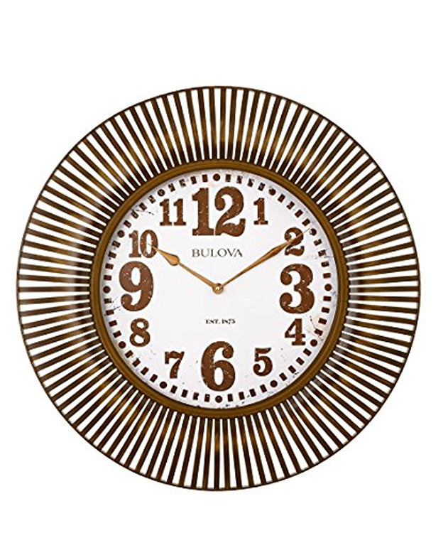 Bulova Sunburst Aged Gold Metal Case Wall Clock C4843