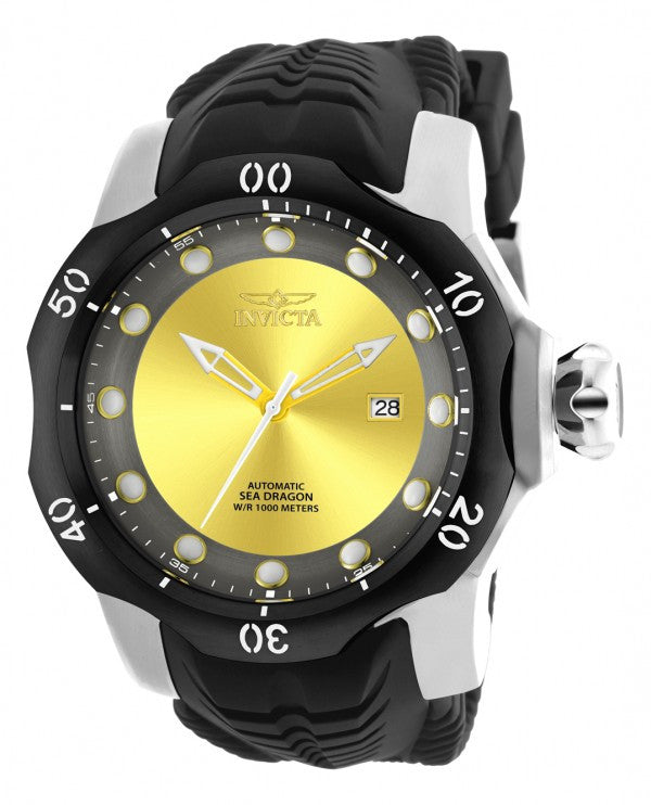 Invicta Men's Venom Automatic 1000m Stainless Steel Black Silicone Watch 19310