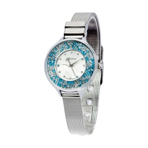 Nine2Five Women's Sparkling Crystal Quartz Stainless Steel Mesh Watch ASKG08SLAZ