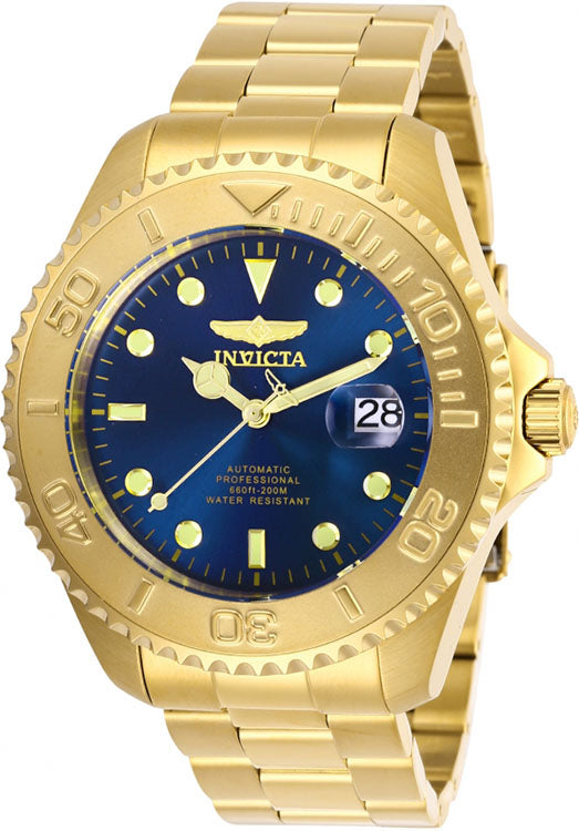 Invicta Men Pro Diver Automatic Blue Dial Gold Tone Stainless Steel Watch 28951