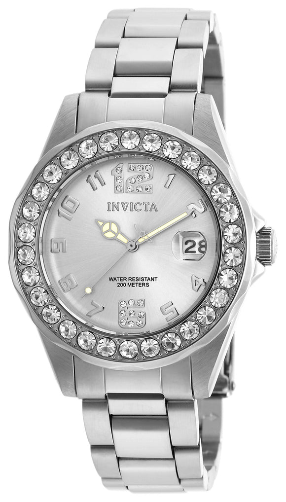 Invicta Women's 21396 Pro Diver Quartz 3 Hand Silver Dial Watch