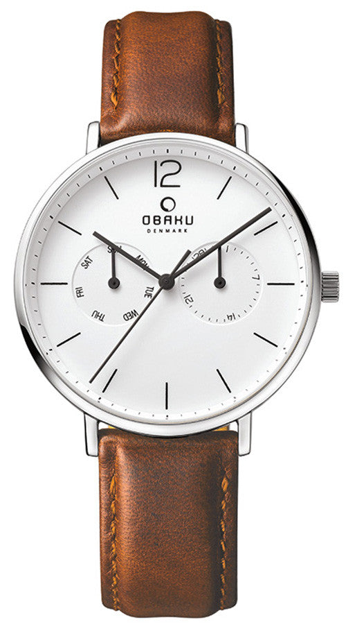 Obaku Men's Leather Watch V182GMCWRN Image