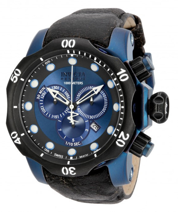 Invicta Men's Venom Chronograph Blue Stainless Steel Black Leather Watch 15988