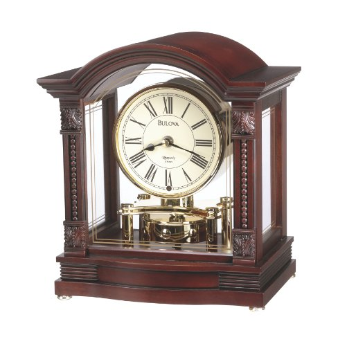 Bulova Bardwell Analog Walnut Wood Finish Polished Brass Mantle Clock B1987