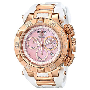 Invicta Women's Subaqua Chronograph 500m Rose Gold White Silicone Watch 17240