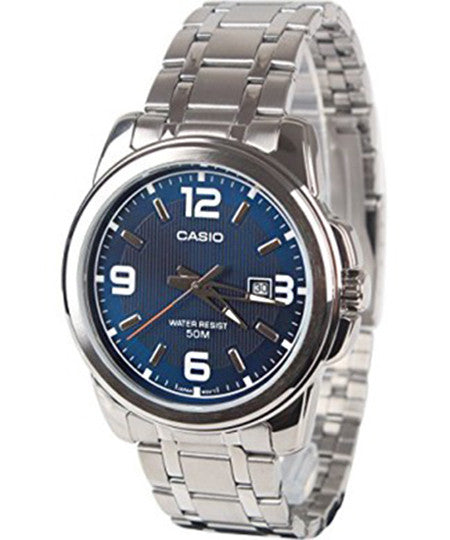 Casio Men's Silver-Toned Stainless Steel Quartz Watch with Blue Dial MTP1314D-2AV