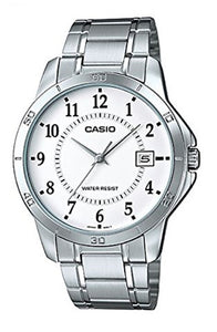 Casio Men's Mineral Crystal White Dial Stainless Steel Watch MTP-V004D-7B