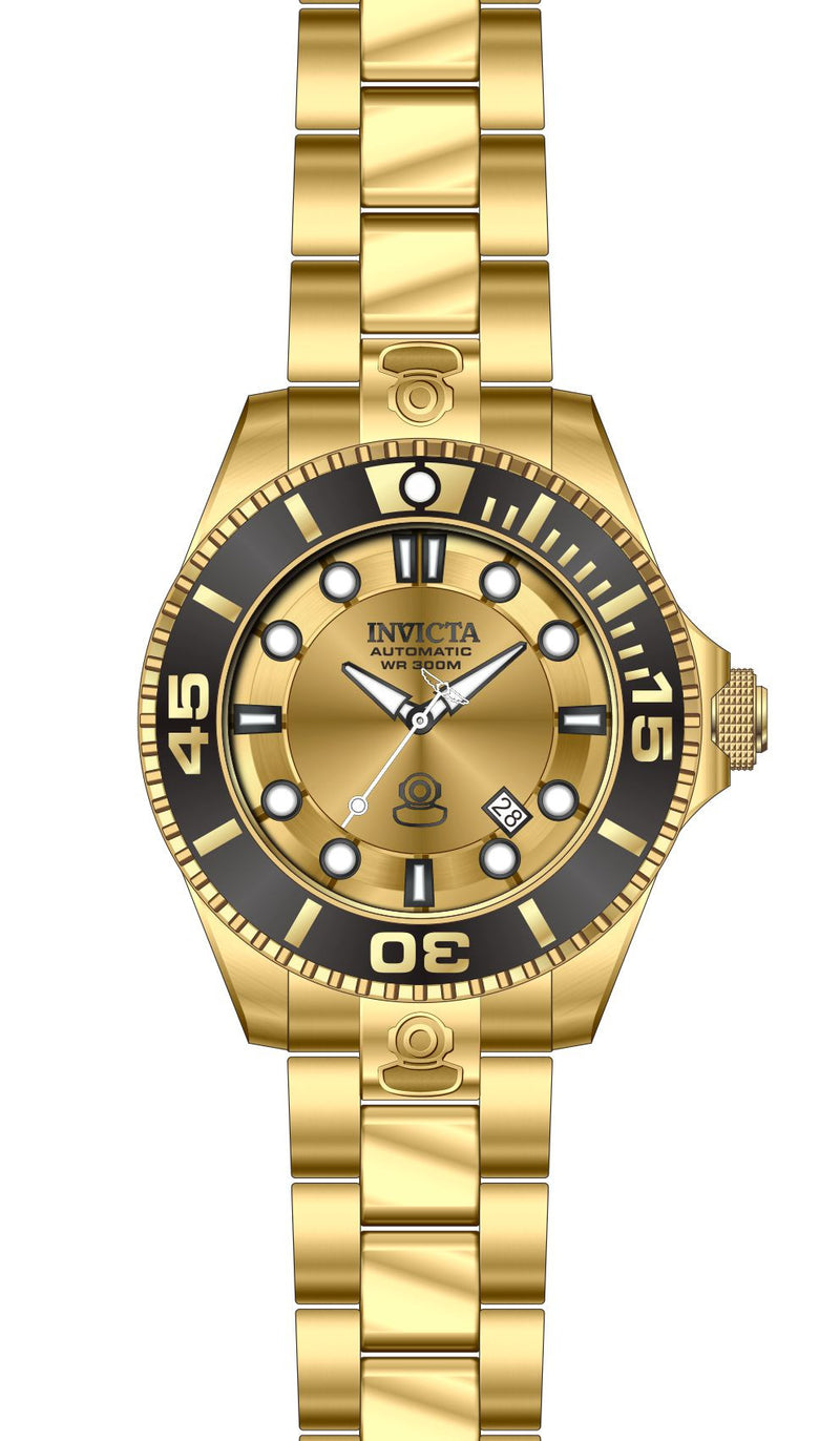 Invicta Men's Pro Diver Automatic 300m Gold Plated Stainless Steel Watch 19807