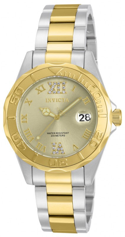 Invicta Women's Pro Diver 200m Quartz Two Toned   Stainless Steel Watch 17021