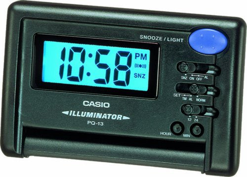 Casio Digital 12/24 Hour Travel Black Alarm Clock with Snooze PQ13-1K