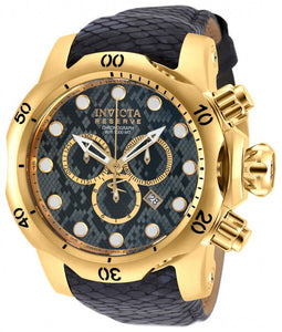 Invicta Men's Venom Chrono 1000m Snakeskin Pattern Dark Grey Leather Watch 18300