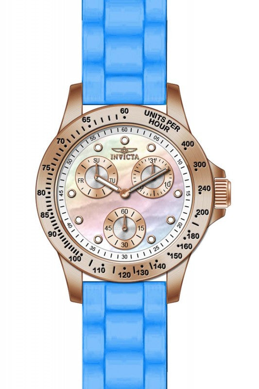 Invicta Women's Speedway Chrono 100m Rose Gold Plated Blue Silicone Watch 21990