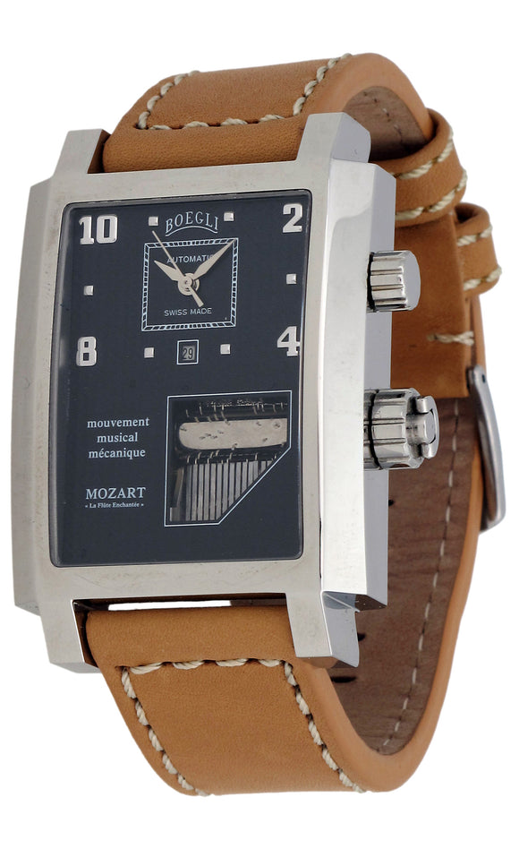 Boegli Men's Grand Festival Automatic Stainless Steel Brown Leather Watch 56572