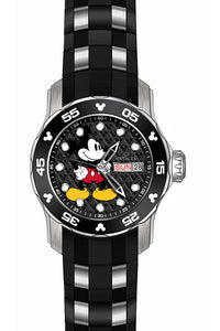 Invicta Women's Disney Quartz 3 Hand Silicone Strap Black Dial Watch 23770
