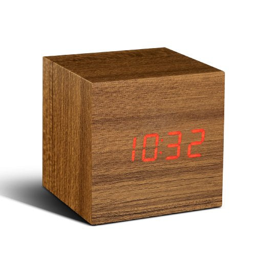 Gingko Cube Click Clock Teak/Red LED 08R4