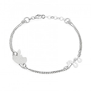 Invicta Women's Jewelry 20cm Silver 925 Rhodium  Apple/Snake Bracelet J0284
