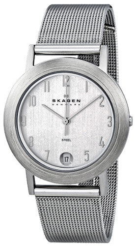 Skagen Silver Dial Stainless Steel Mesh Mens Watch 16LSSC