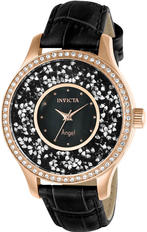 Invicta Women's Angel Rose Gold-Plated S. Steel Black Leather Watch 24565