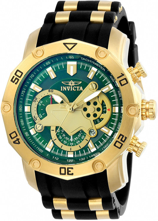 "Invicta Men's Pro Diver Stylish Chronograph Watch ""Green"" Black Strap , 23425"