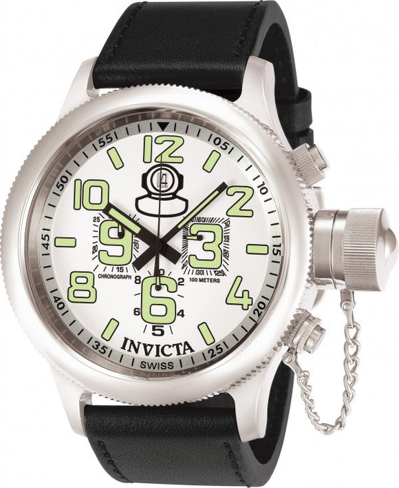 Invicta Men's Russian Diver Chronograph Stainless Steel Leather Watch 7001