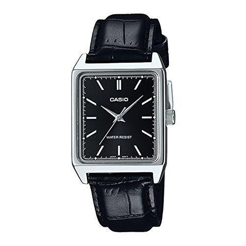 Casio Men's Analog Stainless Steel Black Leather Watch MTPV007L-1E