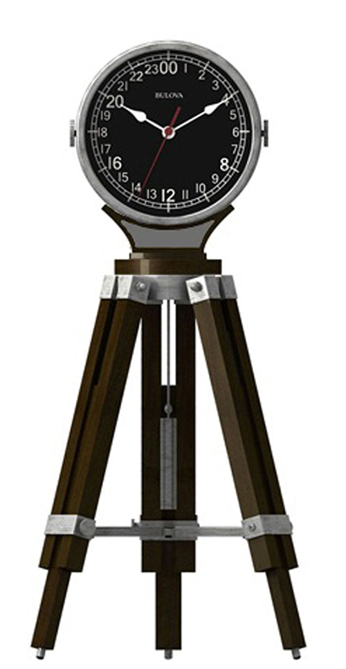 Bulova Corsair Quartz Military Time Tripod Design Tabletop Clock B1533