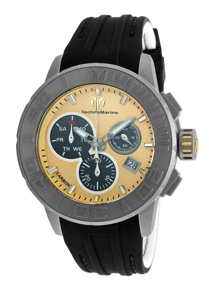 Technomarine Men's TM-515005 Titanium Reef Quartz Chronograph Gold, Charcoal Dial Watch
