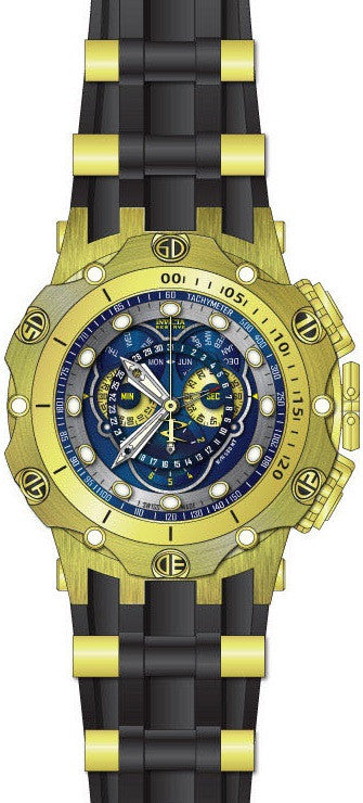 Invicta Men Venom Chrono Gold Plated Stainless Steel Black Silicone Watch 20425
