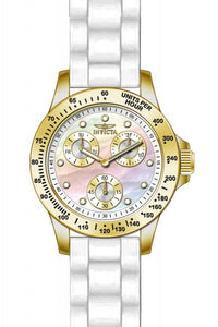 Invicta Women's Speedway Chrono 100m Gold Plated Case White Silicone Watch 21985